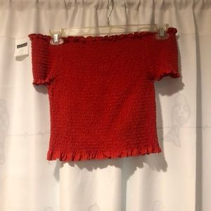 Red off the shoulder crop top